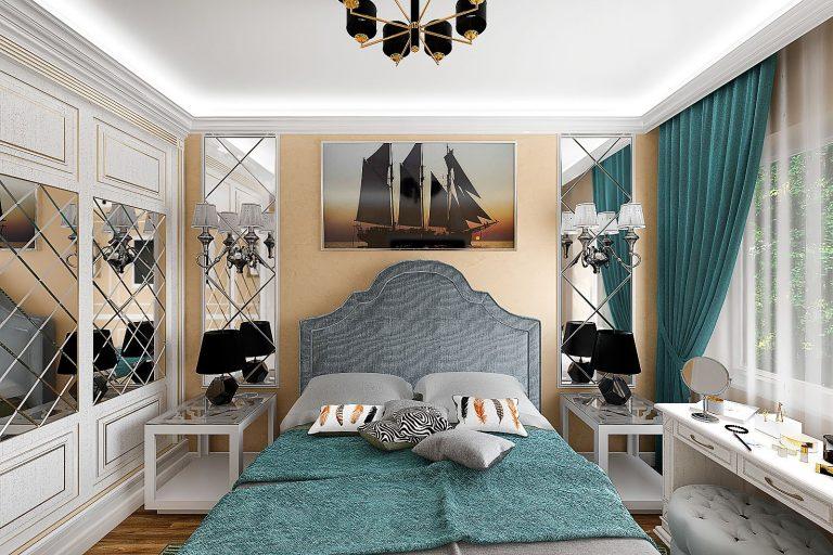 спальня, зеркала с фацетом, картина над изголовьем
