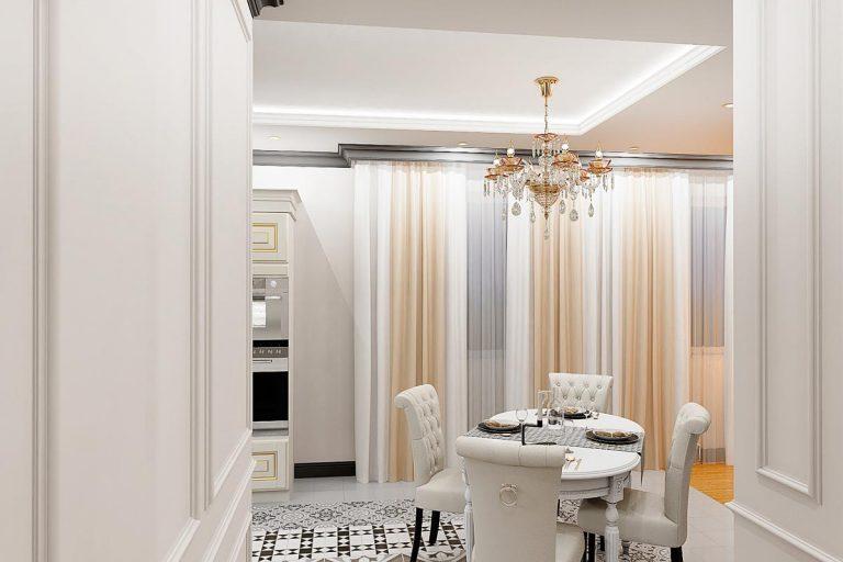 светлая мебель, люстра над столом обеденным, потолок с подсветкой