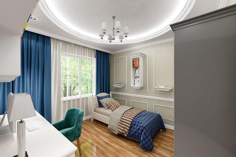Modern classic interior children's room, в светлых пастельных тонах, синий и зеленый декор