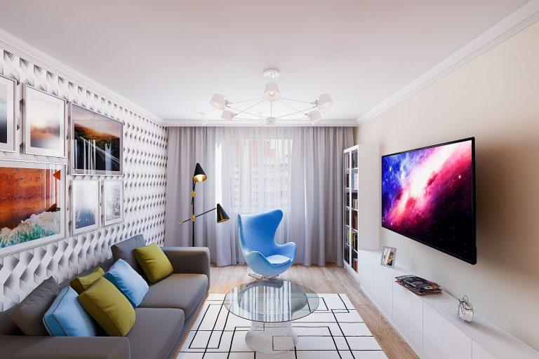 серые шторы, большой телевизор, обои на стене, люстра для потолка 2,6 м