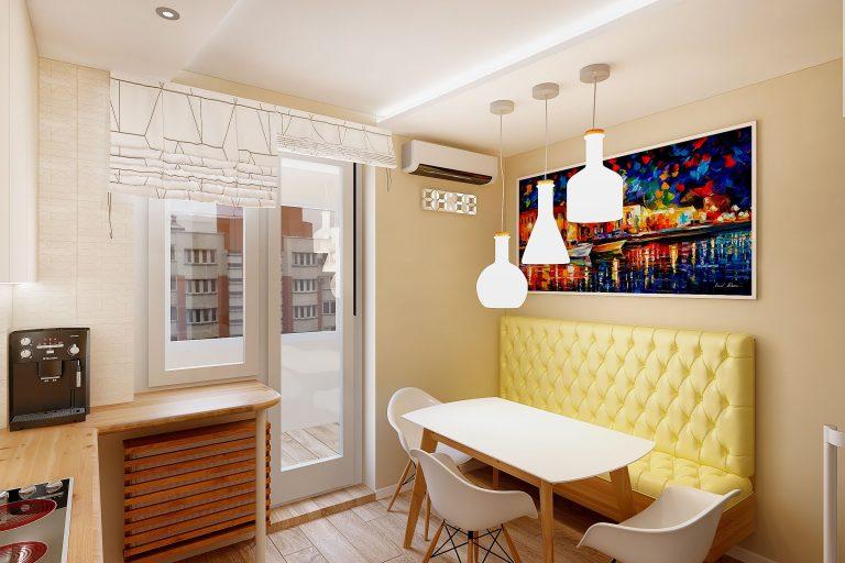 подвесные светильники бутылки над обеденным столом в кухне, контрастная картина большая, желтая обивка